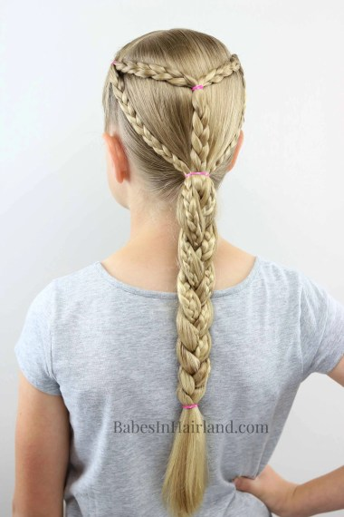This braided hairstyle is perfect for sports, swimming, and all summer activities.  Keep the hair contained and looking cute for all your outdoor activities. BabesInHairland.com