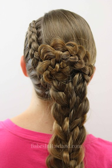 Get an edgy as well as elegant look with this Side Swept Braids and Braided Flower hairstyle from BabesInHairland.com | hair | braids | French braid | braid