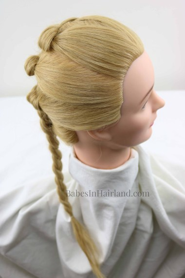 Combine several different hair techniques to create this beautiful Dutch Braid Knot Combo hairstyle from BabesInHairland.com #hair #hairstyle #dutchbraid #braids