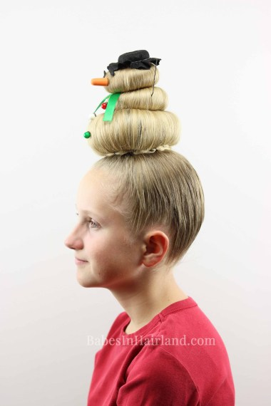 Take crazy hair day seriously. Go all out with this cute, silly snowman hairstyle! Dress him up however you want & you'll definitely have the craziest hair. From BabesInHairland.com #hair #hairstyle #crazyhairday #crazyhair #snowmanhair #snowman