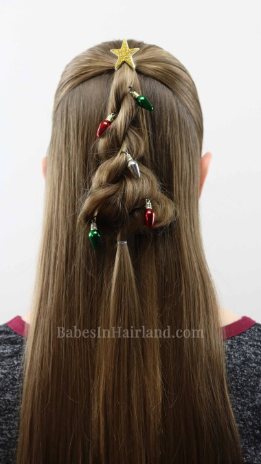 Decorate your hair for Christmas too with this cute Twisted Christmas Tree hairstyle from BabesInHairland.com. #hair #hairstyle #christmastree #ropetwist #twist #cute #christmashairstyle