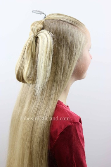 """This darling angel ponytail hairstyle will have you singing """"Angels We Have Heard on HAIR"""" this Christmas seasons! Try this cute hairstyle for Christmas this year from BabesInHairland.com #hairstyle #hair #ponytail #christmashairstyle #angel #christmas"""