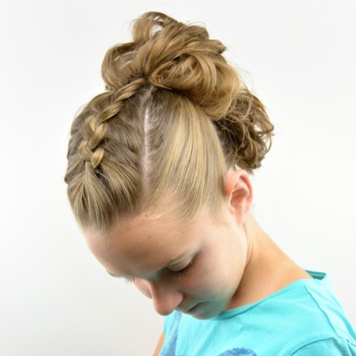 Dutch Braid Messy Bun Fauxhawk
