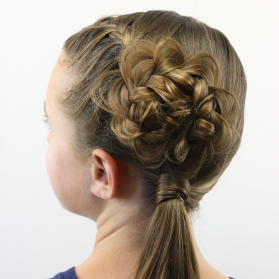 Flower Braid (Rosette) Topped Ponytail