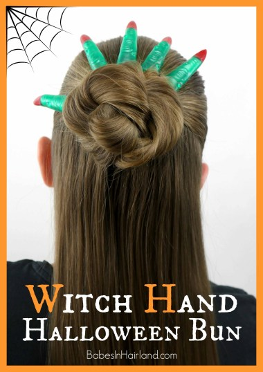 Witch Hand Halloween Bun from BabesInHairland.com #halloween #hair #witch #halloweenhairstyle