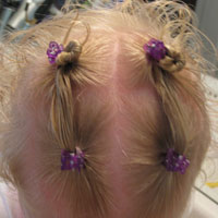 Ponies into Baby Buns -Twists Hairstyle