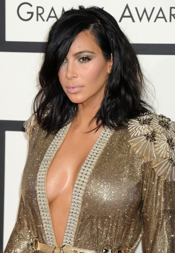 Kim Kardashian at the 2015 Grammys