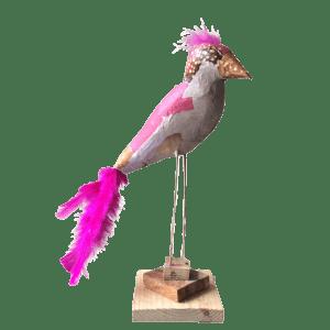 vogels op stok papiermache vogel roze