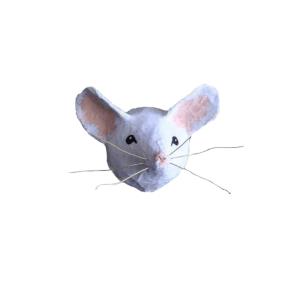 papiermache muisje. leuk voor in de keuken of kinderkamer