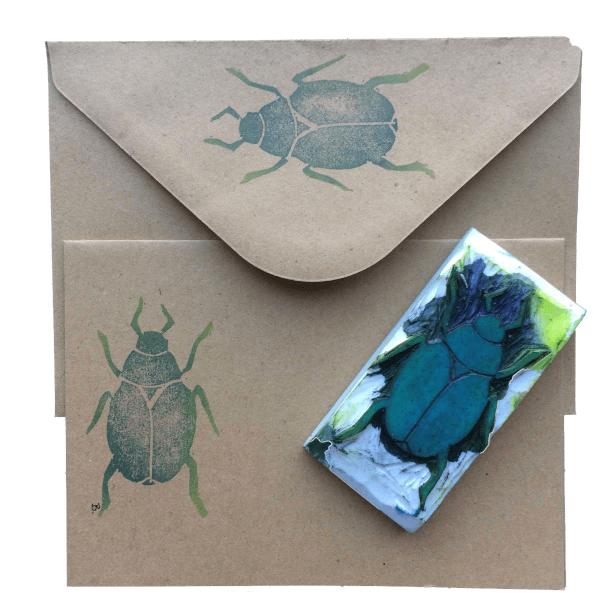 handgemaakte stempel van een beetle