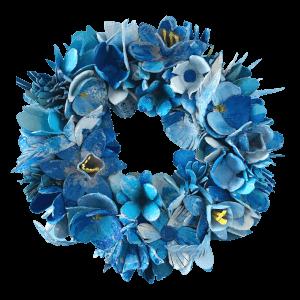 blauwe bloemenkrans gemaakt door babetteswereld