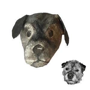 borderterrier hond sam van papiermache