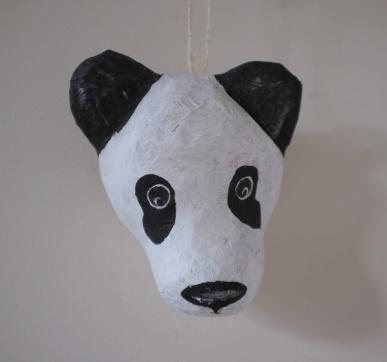 papiermache panda Kung Fu aan touwtje