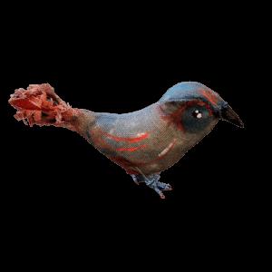 vintage vogel van textiel beschilderd met antiekblauw en rood