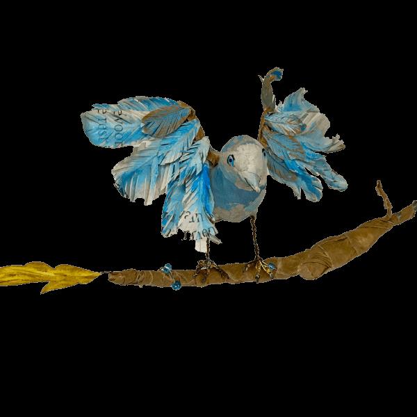blauw vogeltje dat op punt staat om weg te vliegen