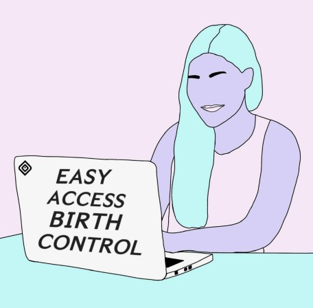"""Woman at computer reading """"Easy Access Birth Control"""""""