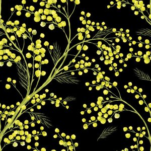Sprig of mimosa watercolor pattern for cloth diaper