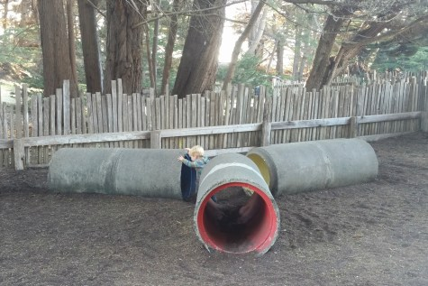 Cement tubes at the playground