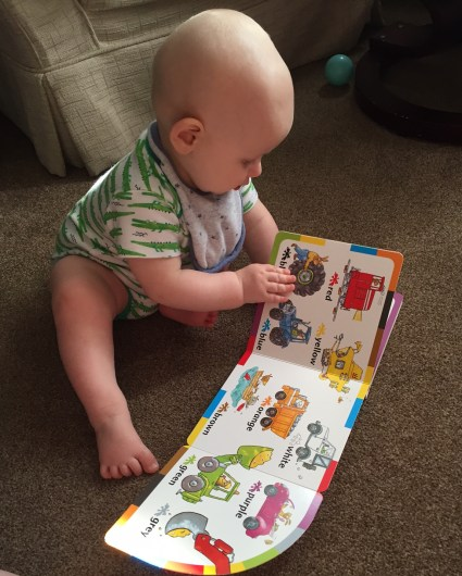 almost bald, blond 8 month old wearing a white vest with crocodiles on it sitting on a beige carpet with his hands on a book where you can see lots of colourful vehicles and their names