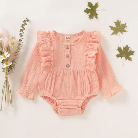 0 18M Baby Girl Romper Spring Newborn Baby Clothes For Girls Long Sleeve Kids Boys Jumpsuit 4