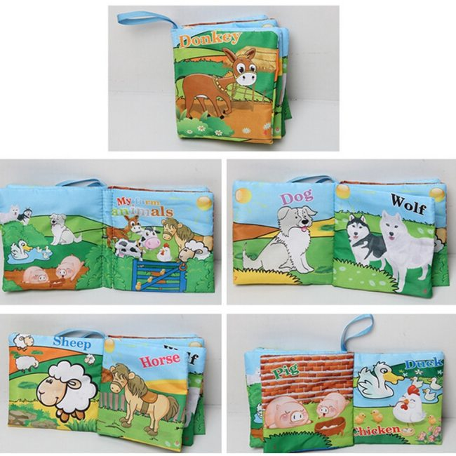 10pages Baby Toys Infant Kids Early Development Cloth Books Colorful Educational Unfolding Activity Book Rattles Mobiles 1