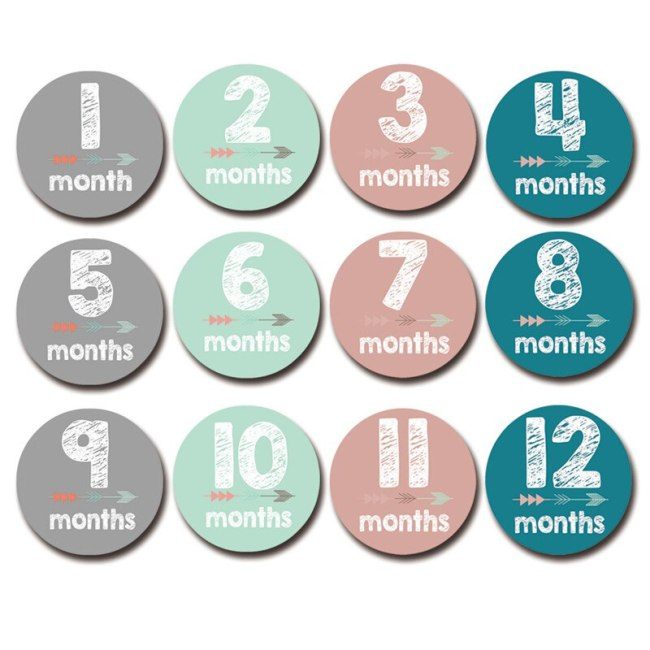 12 Pcs Month Sticker Baby Photography Milestone Memorial Monthly Newborn Kids Commemorative Card Number Photo Accessories 2