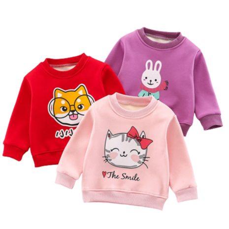 2020 Brand Children Sweatshirt Toddler Girl Baby Fleece Hoodies Warm Pullovers Boy Autumn Winter Cartoon Rabbit