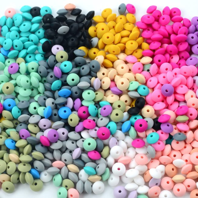 50pcs lot 12mm Silicone lentil Beads Silicone BPA Free DIY Charms Newborn Nursing Accessory Teething Necklace
