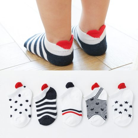 5Pairs lot 0 2Y Cute Lovely Short Baby Socks Red Heart for Girls Cotton Mesh Cute