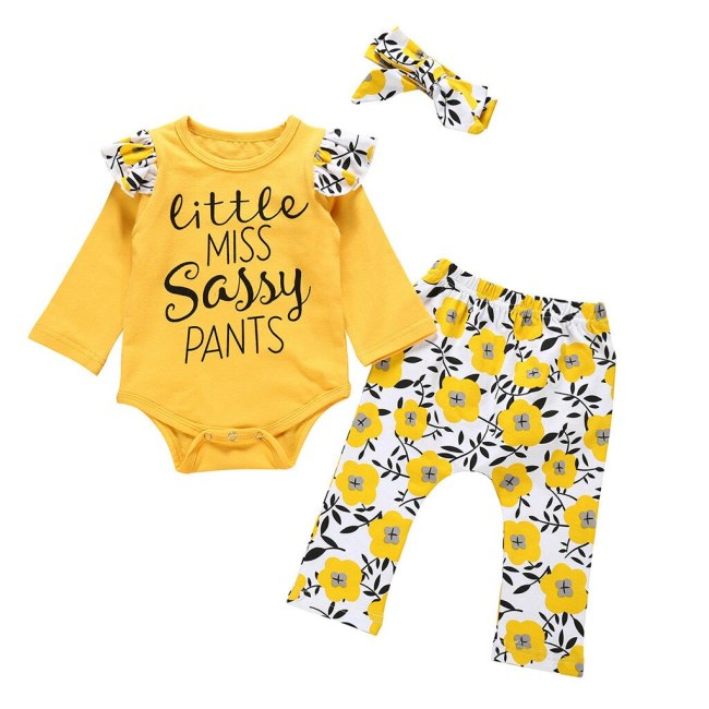Autumn Newborn Kid Toddler Infant Baby Boy Girl clothes Letter Printed Playsuit Romper Print Pants Hairband 1