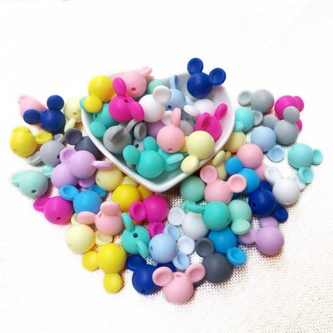 BOBO BOX 10pcs Mickey Baby Teething Beads Food Grade Cartoon Mouse Shape Beads For Necklaces BPA 2