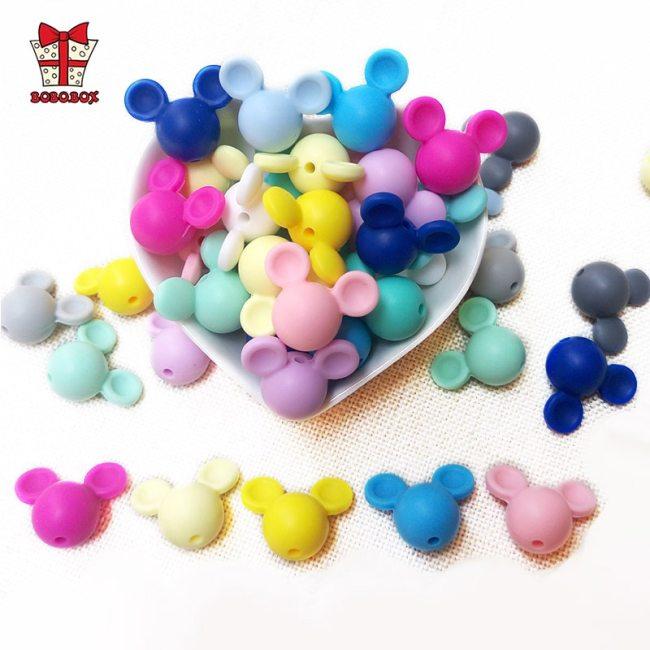 BOBO BOX 10pcs Mickey Baby Teething Beads Food Grade Cartoon Mouse Shape Beads For Necklaces BPA
