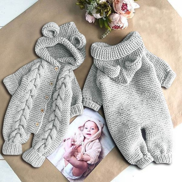 Baby Knit Romper Cartoon Bear Knitted Autumn Newborn Boys Hooded Jumpsuits Clothes Winter Long Sleeve Toddler 2