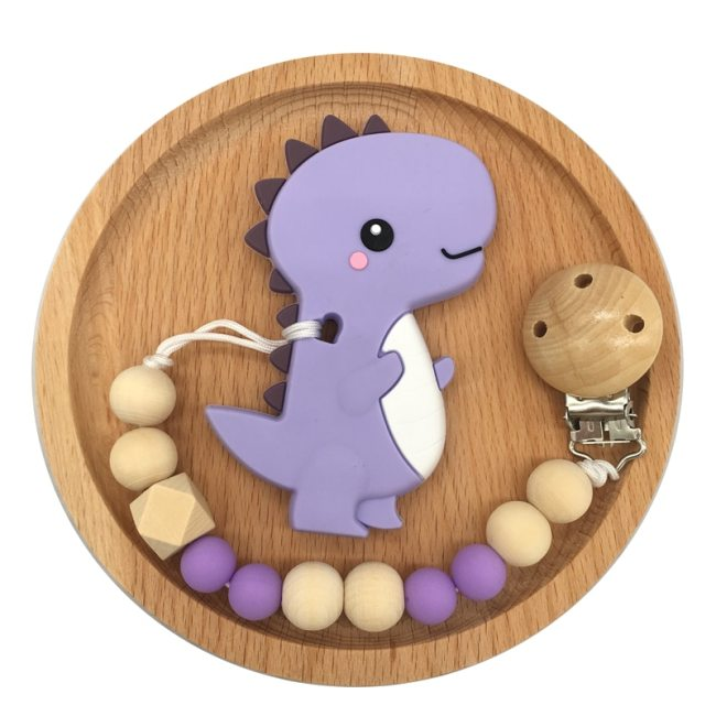 Baby Pacifier Clip Chain Cartoon Dinosaur Teether Wooden Beads Dummy Clip Soother Chew Leash Nipple Holder 3