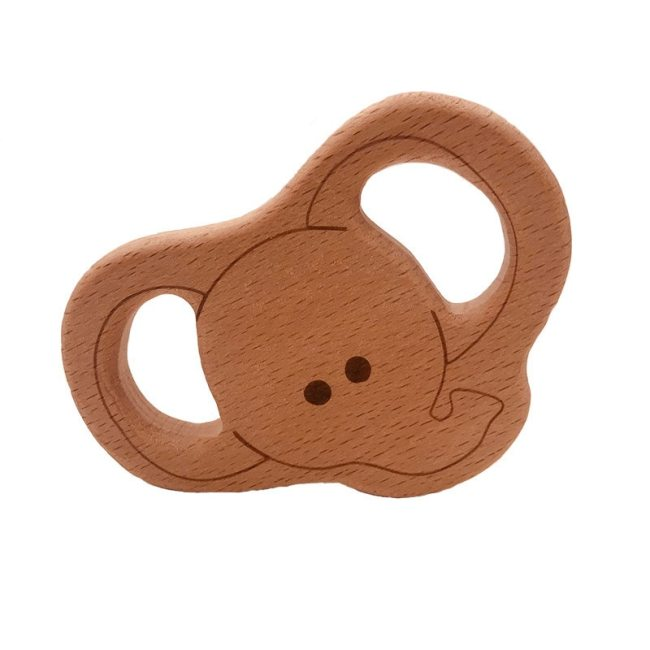 Baby Wooden Teethers Food Grade Beech Wood Animal Tortoise Koala Whale Turtle Wooden Shape Pacifier Wooden 2