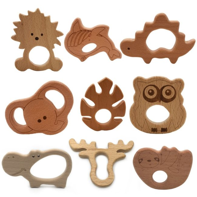 Baby Wooden Teethers Food Grade Beech Wood Animal Tortoise Koala Whale Turtle Wooden Shape Pacifier Wooden
