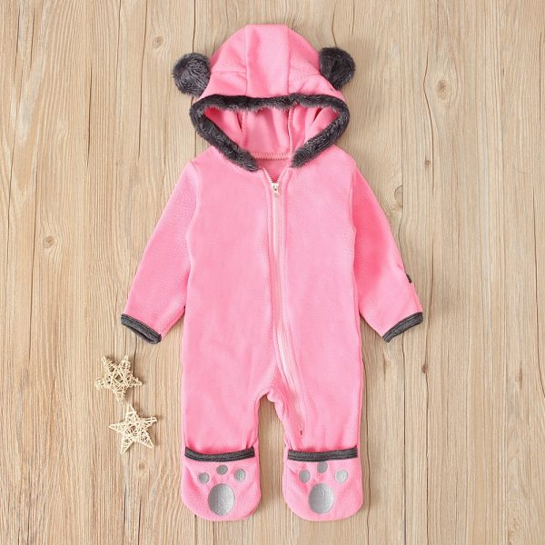 Baby winter clothes baby footed romper Infant Baby Girls Boys Solid Cartoon Fleece Ears Hoodie Romper 3