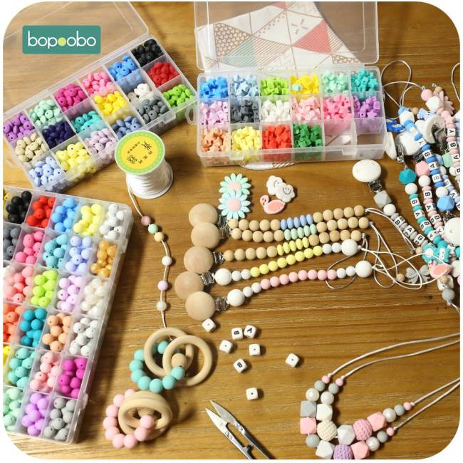 Bopoobo 12mm Silicone Beads 9mm 30pc Beads Food Grade Baby Teething Beads DIY Nursing Bracelet Silicone 4