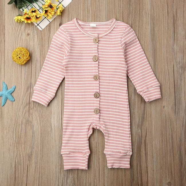 Casual Winter Cloth Toddler Infant Baby Boys Girls Long Sleeve O Neck Stripe Cartoon Print Jumpsuit 1