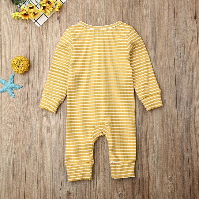 Casual Winter Cloth Toddler Infant Baby Boys Girls Long Sleeve O Neck Stripe Cartoon Print Jumpsuit 4