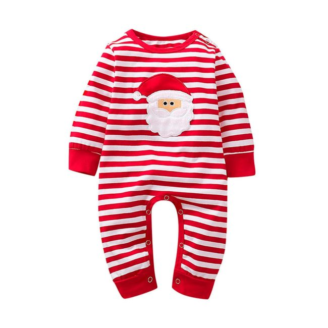 Christmas Baby Girl Boy Clothes Striped Newborn baby Santa Romper Jumpsuit Playsuit Children Xmas Costume Infant 2