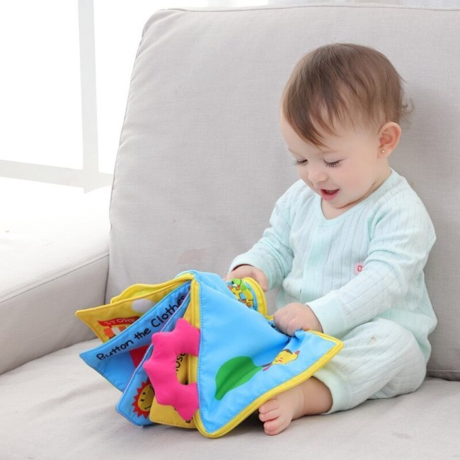 Educational Baby Rattles Mobiles Toys Infant Kids Early Development Cloth Books Cartoon Animal Learning Unfolding Animal 2