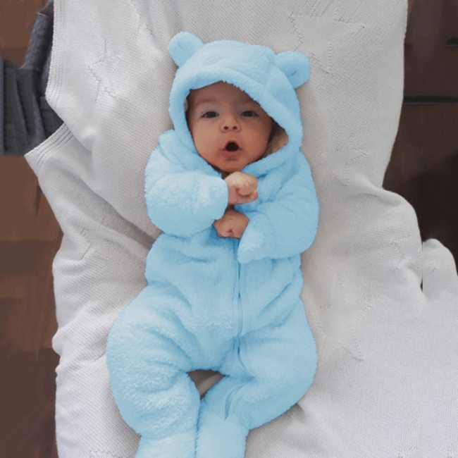 Infant Baby Boys Girls Romper Long Sleeve Fleece Bear Ears Hooded Romper Jumpsuit Overalls for Children