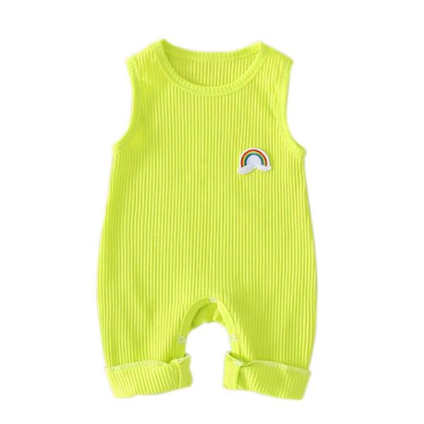 Infant Baby Girls Rainbow Print Sleeveless Kids Boys Casual Bodysuit Jumpsuit Newborn Clothes 3