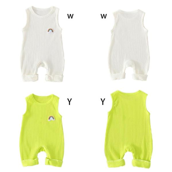 Infant Baby Girls Rainbow Print Sleeveless Kids Boys Casual Bodysuit Jumpsuit Newborn Clothes 4