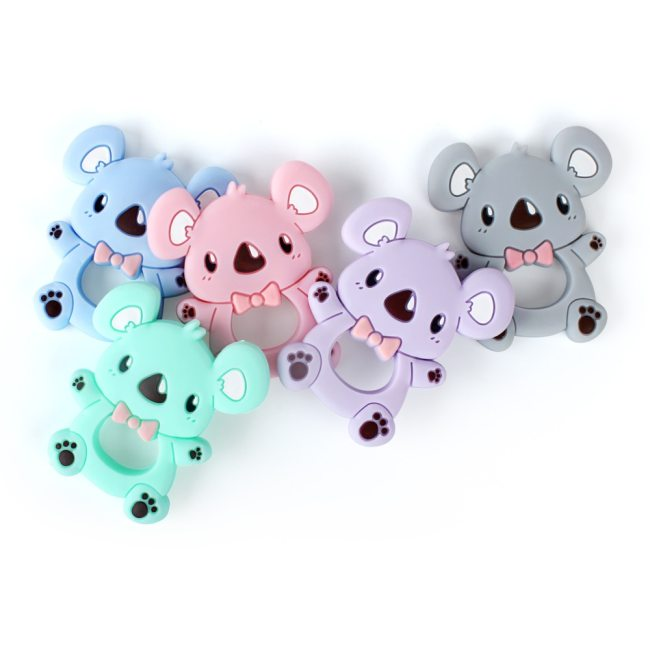 Keep Grow 1pc Baby Silicone Teethers BPA Free Teething Toy Animals Koala Bear Dog Teether Silicone 4