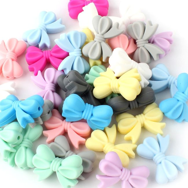Keep grow 10Pcs Bowknot Silicon Beads BPA Free Bow Tie Baby Teething Bead For DIY Jewelry 3