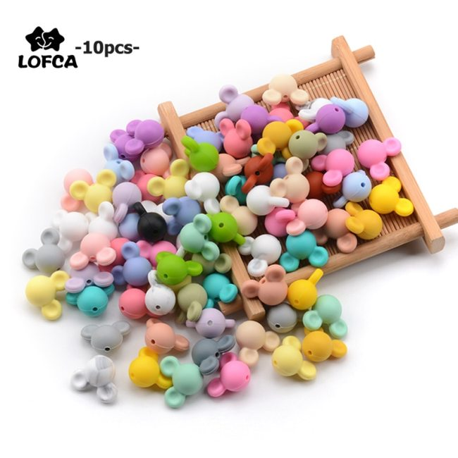 LOFCA 10pcs lot Mouse Silicone Beads Baby Teether Toy Soft Chew Teething BPA Free DIY Charm