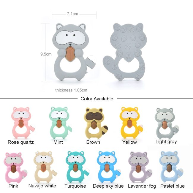 LOFCA 1PC Baby Teethers Cartoon Animal Baby Teething Toy Penguin Silicone Teether Unicorn Pendant Raccoon Necklace 1