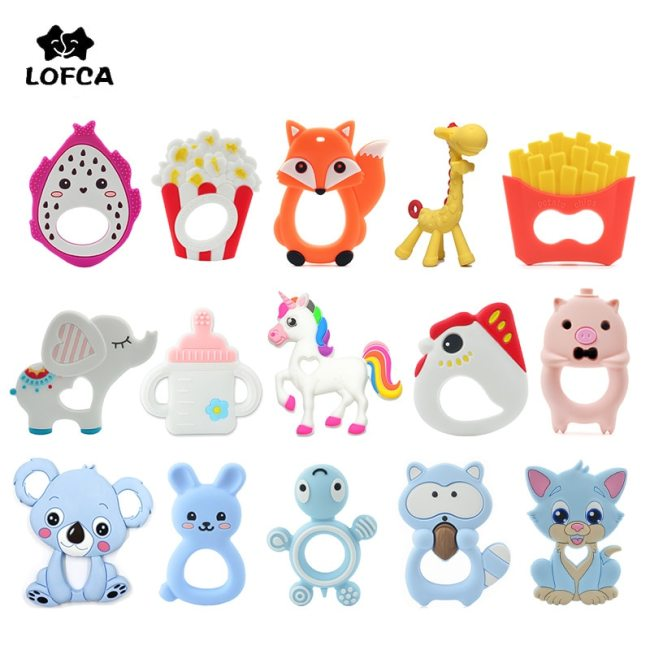 LOFCA 1PC Baby Teethers Cartoon Animal Baby Teething Toy Penguin Silicone Teether Unicorn Pendant Raccoon Necklace